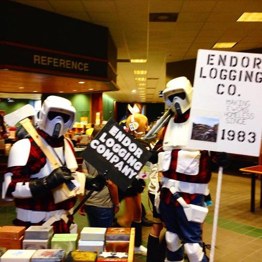 Funny Star Wars Cosplay, Storm Trooper Lumberjacks from Endor