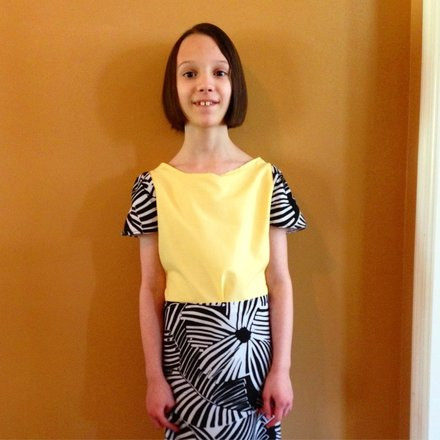 DIY black, white, and yellow maxi dress